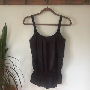 The Limited black silky peplum tank top, size M